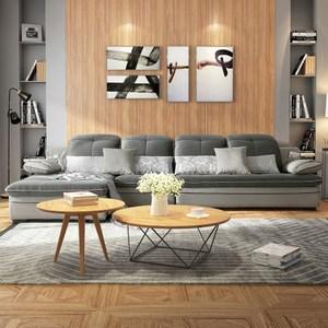 林氏木業現代百變可拆洗L型四人布沙發(附抱枕)F09853-灰色
