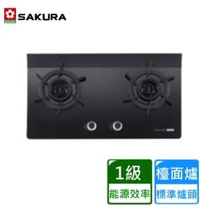 【櫻花】G2922AGB二口雙炫火玻璃檯面爐-天然瓦斯