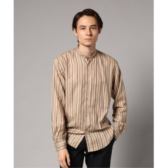 EDIFICE マルチストライプバンドカラーシャツ ベージュ M