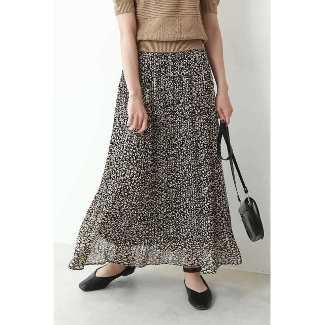 レオパード柄プリーツスカート ブラック1