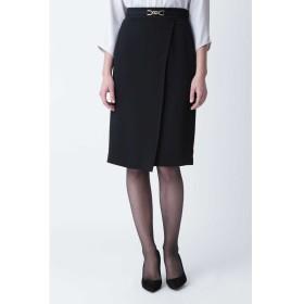 ◆ビットベルト付ラップスカート ブラック