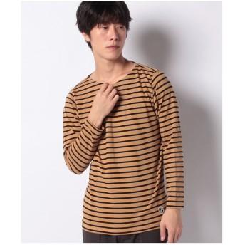 ikka オーガニックコットンボーダーロングスリーブTシャツ(ベージュ)
