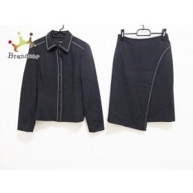 アイシービー ICB スカートスーツ サイズ11 M レディース 美品 黒×白 肩パッド 新着 20190828【人気】