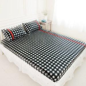 奶油獅 格紋系列 100%精梳純棉床包三件組 黑 雙人5尺