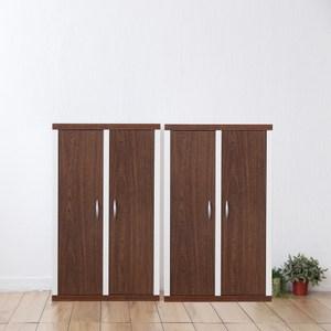 兩入一組【Accessco】日系雙色六格二門厚板收納書櫃(胡桃白)胡桃白