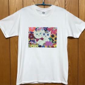 【期間限定☆送料無料】仲良しネコさんTシャツ(白)