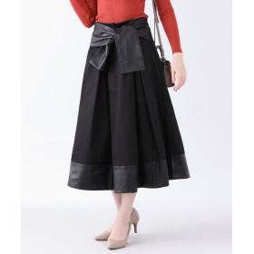 ブルーイースト ウエストリボンモチーフフェイクレザー切替スカート レディース ブラック M 【BLUEEAST】