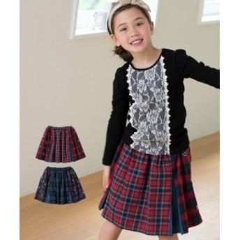 チェックパッチワークスカート(女の子 子供服・ジュニア服) ニッセン nissen