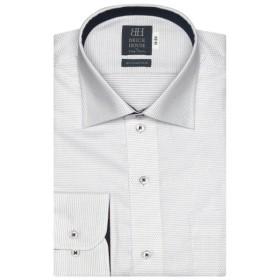 [マルイ] 形態安定 ノーアイロン 長袖ワイシャツ ワイド 白×パープル刺子調柄 標準体/ブリックハウス(BRICKHOUSE)
