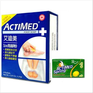 ACTIMED艾迪美泡腳粉(30g*4)/盒*3+青春體香皂*12