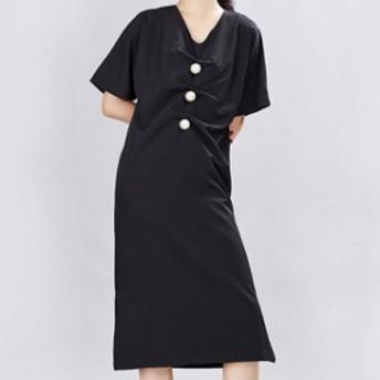 ロング 膝丈 ワンピース ドレス レディース 大きいサイズ 袖あり Vネック サイドスリット シンプル 白 黒