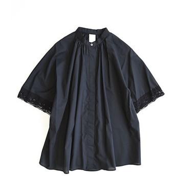 【送料無料】<BASCO> 大きいサイズ ジュリアブラウス 袖レース立ち襟ブラウス 黒【三越・伊勢丹/公式】