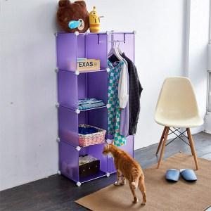 【H&R安室家】魔術空間8格衣櫥組合櫃(附門4片)黑色