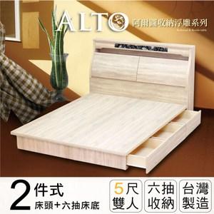 IHouse-阿爾圖 收納浮雕二件式房間組(床頭+六抽床底)-雙人5尺梧桐
