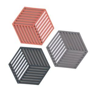 蜂窩幾何矽膠隔熱餐墊-條紋款4入(顏色隨機出貨)