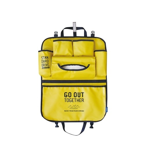 日本 DECOLE - 防潑水加工 車用收納袋-露營風帆布-黃