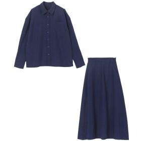 ユアーズ リネンライクシャツ×スカートセットアップ レディース ネイビー S 【ur's】