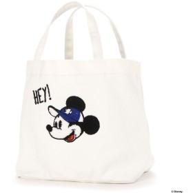 ディズニー Disney サガラ刺繍巾着キャンバストート (ホワイト)