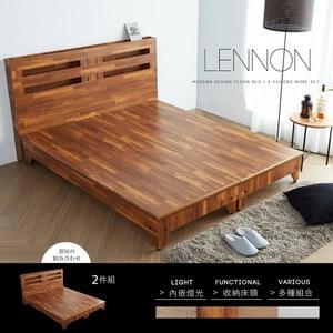 obis 藍儂田園鄉村風系列雙人房間組2件式(床頭+床底)-4色柚木