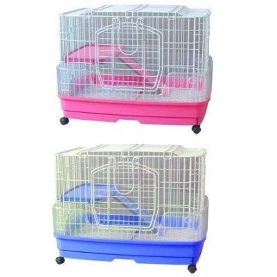 【優比寵物】日式豪華精緻(2層+1跳板)《中型》兔籠、天竺鼠籠C015-7防止噴尿、抽取底盤好清理塑膠底墊腳踩舒適