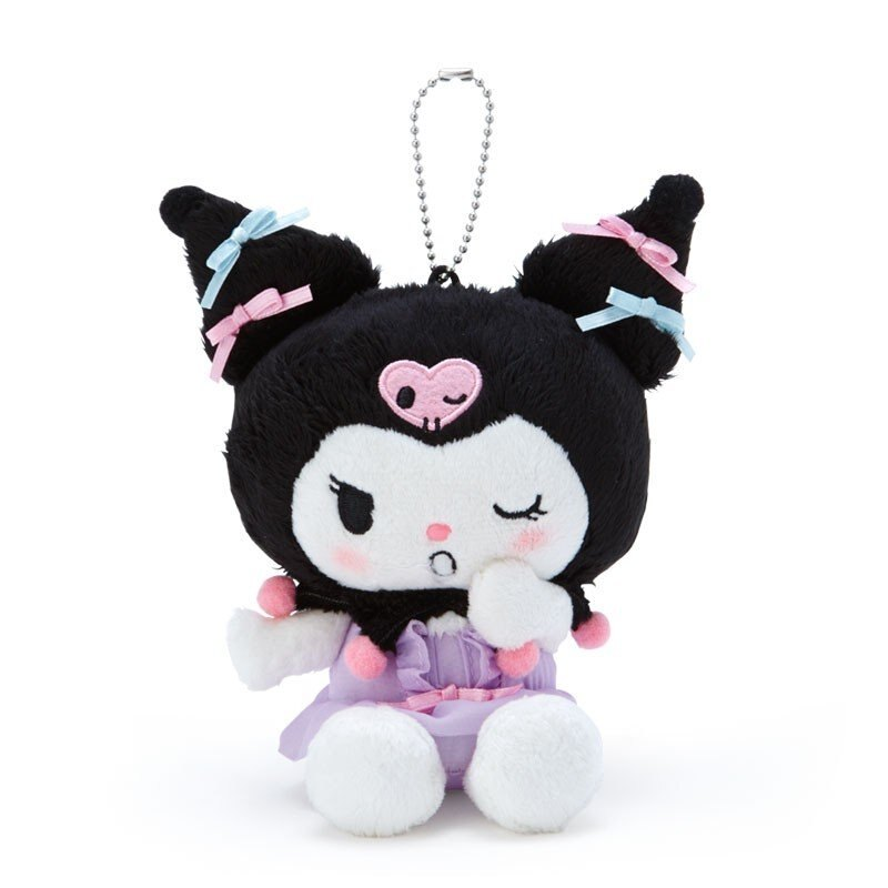 〔小禮堂〕酷洛米 絨毛玩偶娃娃吊飾《黑紫》掛飾.鑰匙圈.睡衣派對系列