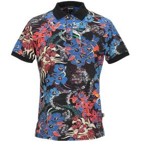 《期間限定セール開催中!》JUST CAVALLI メンズ ポロシャツ ブラック M コットン 92% / ポリウレタン 8%