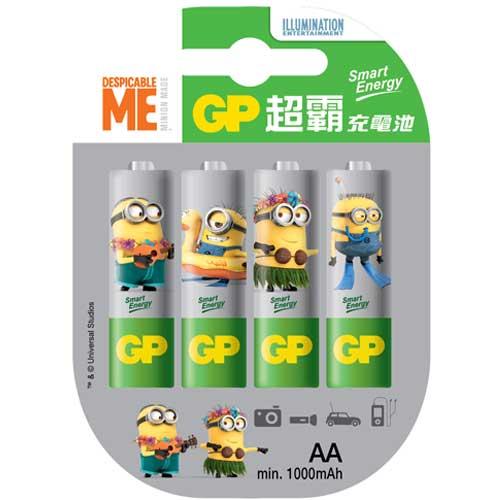 GP 超霸「霸-那那」智醒充電池 3號 4入 - 小小兵聯名款 電池專家