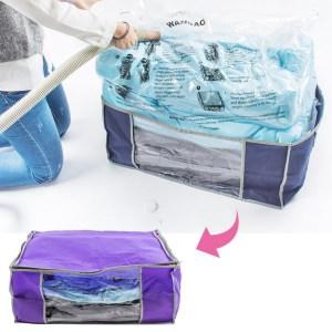 樂嫚妮 3D立體真空壓縮袋/收納箱-紫3D立體壓縮袋收納箱-紫