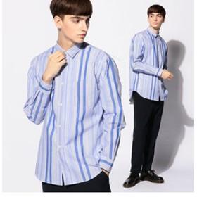 【メンズビギ:トップス】プレーンカラーコムドコットンストライプシャツ