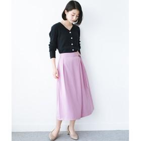 haco! スカート見えしつつ ちゃんと動きやすいバックル付きフレアーパンツ(ピンク)