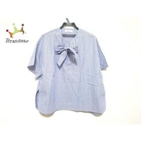 エブール ebure 半袖シャツブラウス サイズ38 M レディース 美品 ブルー×白 新着 20190828