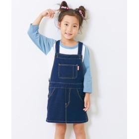 ニットデニムジャンパースカート(女の子 子供服。ジュニア服) (オールインワン) Overalls, 背, 背帶