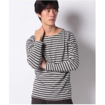 ikka オーガニックコットンボーダーロングスリーブTシャツ(ミディアムグレー)