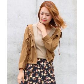 ソーシャルガール Social GIRL ポケット付き七分袖シャツアウター (キャメル)