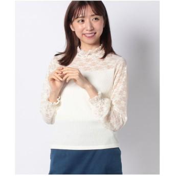 GIORDANOL [GIORDANO]レースシャーリングハイネックTシャツ(ホワイト)【返品不可商品】