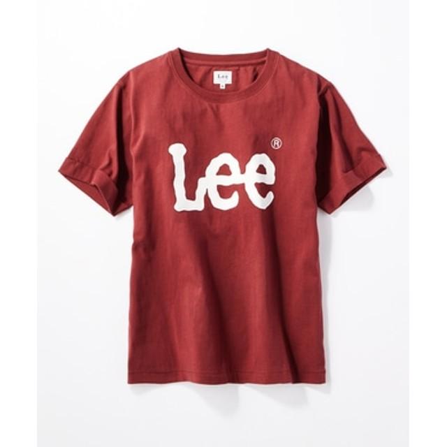 Lee ロゴプリント入りクルーネックTシャツ レディース ワイン