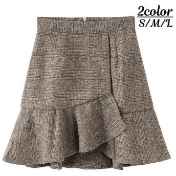 ミディアムスカート アシンメトリー 巻きスカート風デザイン フレアスカート 膝丈 ミディ丈 レディース ボトムス チェック柄 バックジッパー おしゃれ