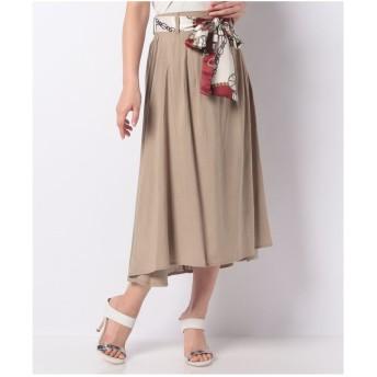 CECIL McBEE スカーフ付きフレアスカート(ベージュ)【返品不可商品】