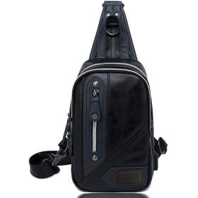 ARIALK 斜めがけ ボディバッグ メンズ バッグ レザー バック 肩掛けバッグ iPadmini USB 通勤 通学 ショルダー付替え可能 (ブラック)