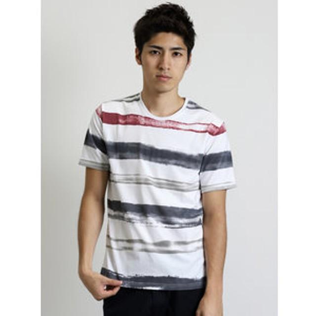 【semantic design:トップス】水彩3色ボーダー風クルーネック半袖Tシャツ