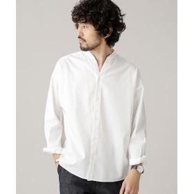 ナノ・ユニバース 大人のワイドシャツ バンドカラー メンズ ホワイト L 【nano・universe】