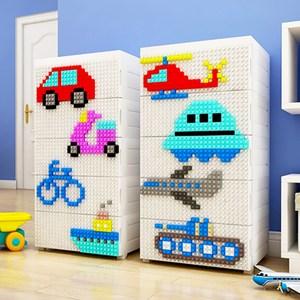 【魔法腳印】童趣益智積木拼圖五層玩具收納櫃-交通工具(拆開即用 免組裝交通工具(陸海空)