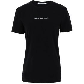 《期間限定セール開催中!》CALVIN KLEIN JEANS レディース T シャツ ブラック XS コットン 93% / ポリウレタン 7% INST LOGO STRETCH SL