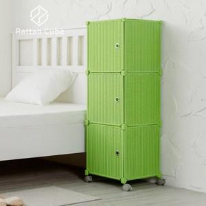 【藤立方】組合3格收納置物櫃(3門板+附輪)-綠色-DIY