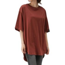 ビッグTシャツ 半袖 オーバーサイズ レディース スリット ビッグシルエット ゆったり 体型カバー CTB001-012 ブラウン:L