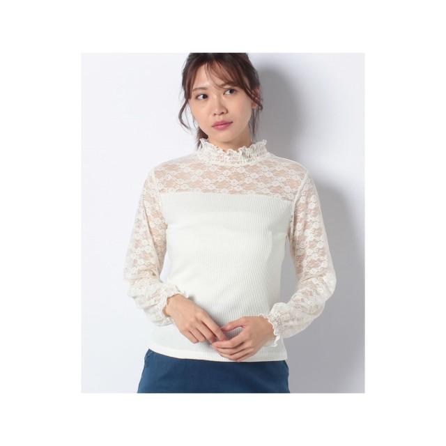WEGO WEGO/レースシャーリングハイネックTシャツ(ホワイト)【返品不可商品】
