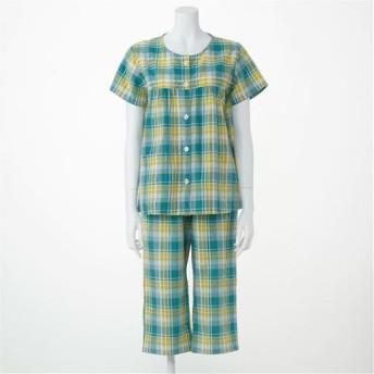 【レディース】 ベタつきにさよなら!夏に心地いい爽やか前開きサッカーパジャマ(綿100%)(半袖) - セシール ■カラー:グリーン系 ■サイズ:S