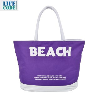 LIFECODE BEACH 防水大沙灘袋/購物袋/健身袋-深紫