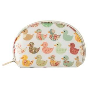 【韓版】可愛繽紛防潑水輕便貝殼化妝包(4色)-花花小鴨