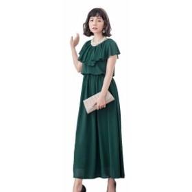 ロングドレス シフォン フォーマル パーティードレス 結婚式 ワンピース 大きいサイズ 袖あり 二次会 お呼ばれ 同窓会 ワーピス